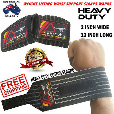 Bodybuilding Weight Lifting Wrist Support Bar Straps Wraps Gloves Hand