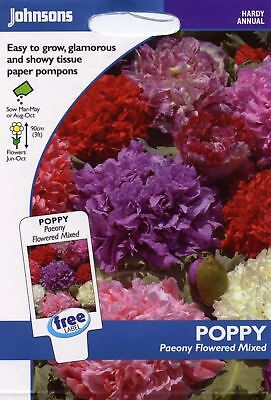 Johnsons - Pictorial Pack - Flower - Poppy Paeony Flowered Mixed - 2000 Seeds