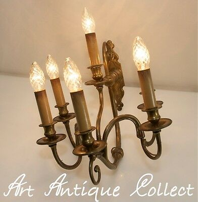 Antique Brass Wall Light six-branched Candelabrum 6 Lights Baroque Style Sconce
