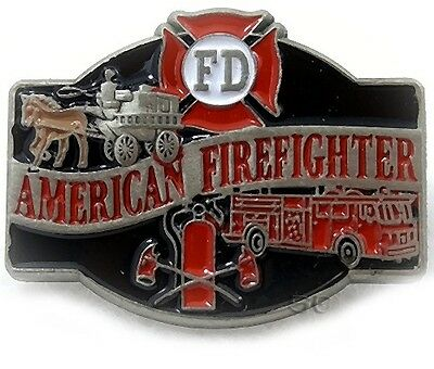 """Firefighter Fire Rescue Lapel Pin """"AMERICAN FIREFIGHTER"""" Old Modern Apparatuses"""