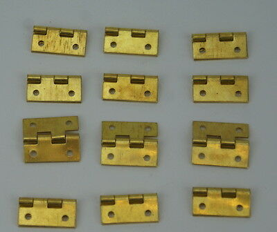 12 x Small BRASS HINGES clock case repairs parts clockmakers cabinet doors