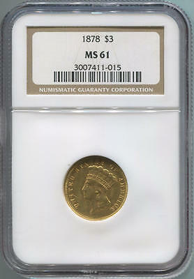 1878 $3 Dollar Gold Princess. NGC MS61