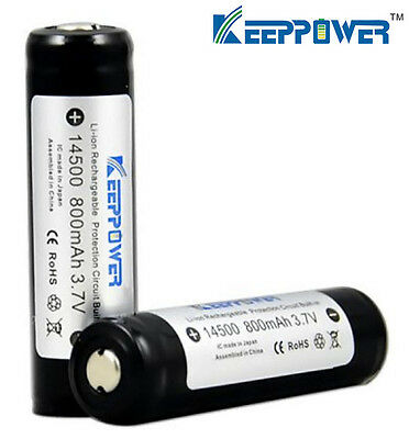 2x KeepPower Protected ICR 14500 AA 800mAh 3.7V Li-ion Rechargeable Battery