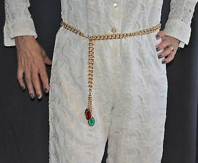 Womens Gold Tone Metal Chain Adjustable Belt hanging faceted large green red ova