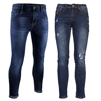 Jeans Uomo Slim fit Blu Scuro Pantaloni 5 Tasche Denim Casual 44 46 48 50 52