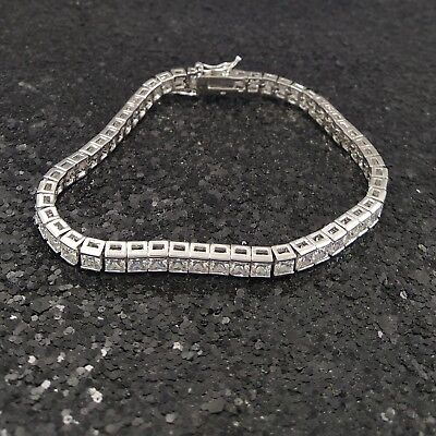 18K White Gold Filled Exquisite Italian Tennis Diamond Bracelet 18cm