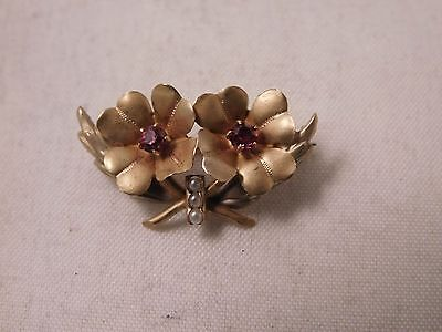 Vintage 10K Yellow Gold Seed Pearl Flower Brooch (WFM87)