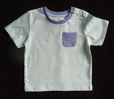 Baby clothes BOY 9-12m 74-80cm aqua/white stripe t-shirt blue pocket SEE SHOP!