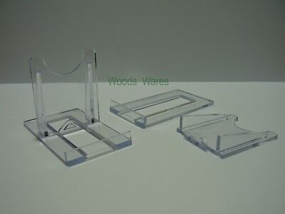 "2 x DISPLAY STANDS 2"" Clear Plastic 5cm Leeds Small Adjustable Twist Plate Cards"