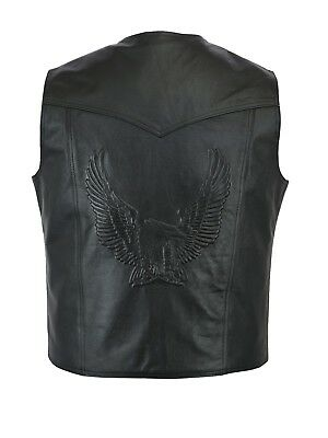 LEATHER WAISTCOAT  Biker Vest Motorcycle MotorBike Leather Vest/ Embossed Eagle