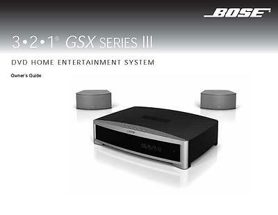 Bose 321 GSX Series III Entertainment System Owners Manual User Guide