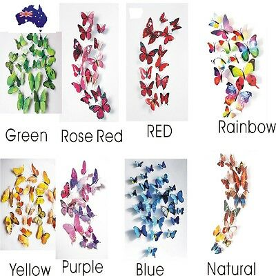 12Pcs 3D Butterfly Wall Decals Removable Sticker Kids Art Nursery Magnets Decor