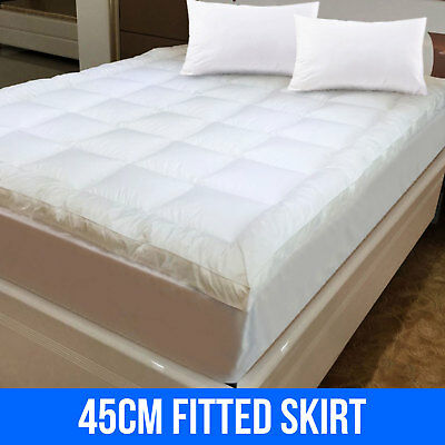 1000GSM Pillow Top Mattress Topper Underlay Protector Cover Queen +All Sizes