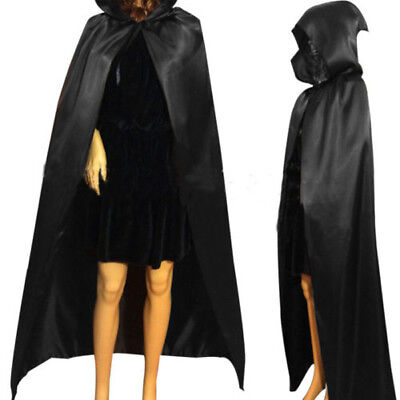 Black Long Hooded Cloak Gothic Cape Vampire Fancy Dress Halloween Party US