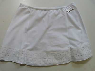 Womens Reebok Playdry Laser Cut Tennis Gym Yoga White Skirt Built In Shorts