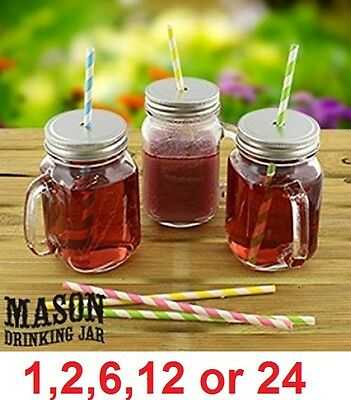 1 to 24 MASON GLASS DRINKING JAR JARS Vintage Handle Screw Cap Straw Summer BBQ