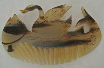 Vintage Hair Comb ORNATE Carved FISH SWAN DUCK Bakelite Plastic Celluloid Lucite