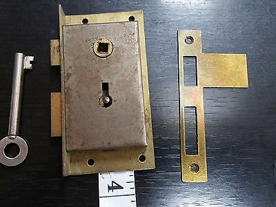 "Right - Half Mortise Sash Lock – 3 1/2"" x 1 2/4""  W/ Key and Strike Plate"