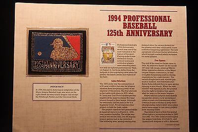 1994 Professional Baseball 125th Anniv Cooperstown Collection Patch & Fact Sheet