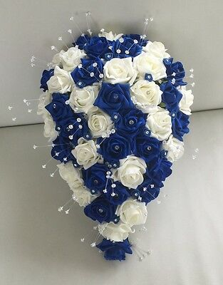 Artificial Wedding Flowers Ivory Royal Blue Rose Bride Shower Teardrop Bouquet
