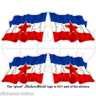 YUGOSLAVIA SFR Flying Flag Socialist Federal Republic 50mm Stickers Decals x4