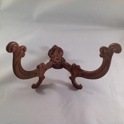 Antique two prong ornate wall hook original