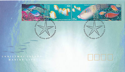 Christmas Island 1998 Marine Life Set of 3 FDC