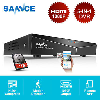SANNCE 1TB HDD 5IN1 TVI 8CH 1080N Security DVR h.264 HDMI P2P Video H81NK + 1TB