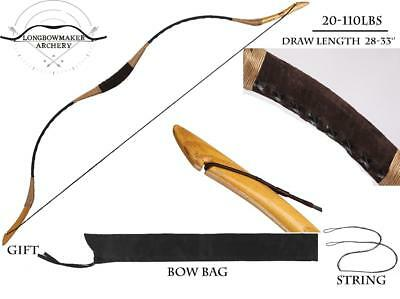 Longbowmaker Traditional Archery Hunting Recurve Bow Pigskin Longbow 20-110lb