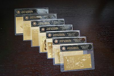 Australian Paper 7 Note Coa Set 24Kt Gold 999.9 Gold Bank Notes Banknote