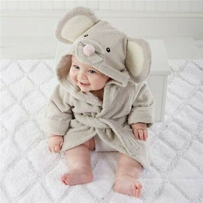 Sweet  Gray Mouse Baby Bath Hooded TERRY Towel Robe For Fun Bathtime Adorable