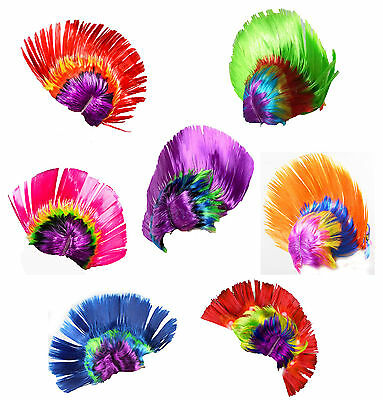 Unisex Mohawk Hair Wig Mohican Punk Rock Fancy Dress Cosplay Party Costume LED