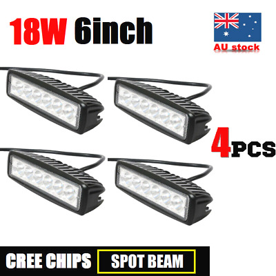4x 18W 6INCH LED WORK LIGHT BAR OFFROAD FLOOD DRIVING AUTO TRUCK MOTORCYCLE LAMP