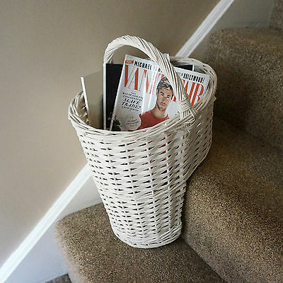 Oval Whitewash Wicker Stair Basket With Carry Handle Step Tidy/Organiser/Storage