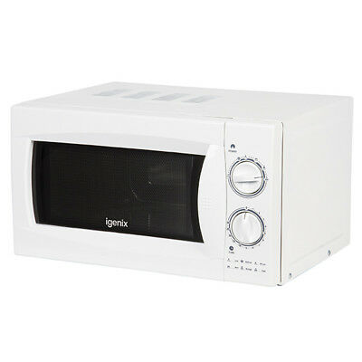 Igenix IG2980 20 Litre 800w White Manual Microwave With Stainless Steel Interior