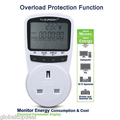Electricity Plug-in Programmable Energy Monitor Socket Home Power Meter UK Plug