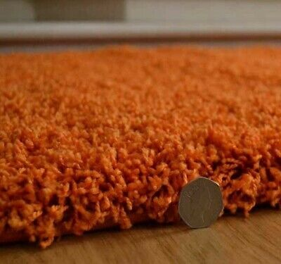 Orange Shaggy Rug Runner Soft Thick 50mm High Pile Any Room
