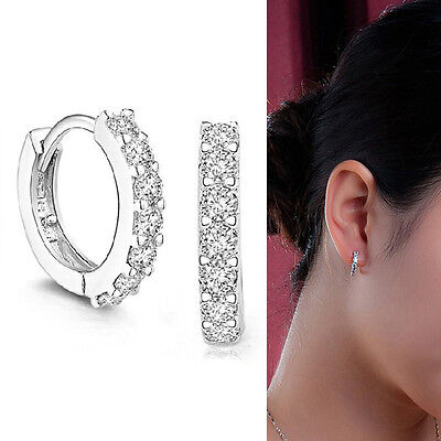 925 Silver Plated Cool Gift Earrings Gem Jewelry Crystal Studs Sexy Hoop j