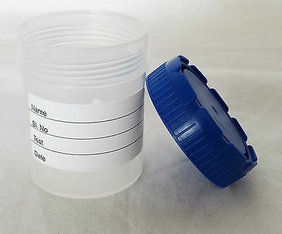50ml Sample Sterile Urine Stool Specimen Bottle Lab Container Pot Screw Top x5pc