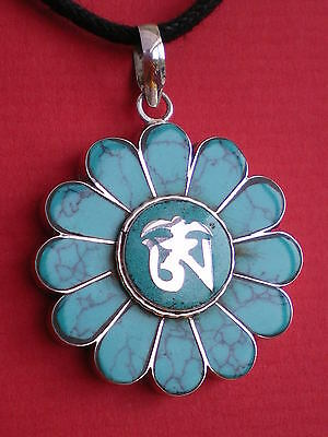 BUDDHIST SILVER LOTUS FLOWER PENDANT with 'OM' SYMBOL INSET IN TURQUOISE