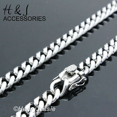 "18-40""MEN Stainless Steel 7x3mm Silver Tone Miami Cuban Curb Link Chain Necklace"