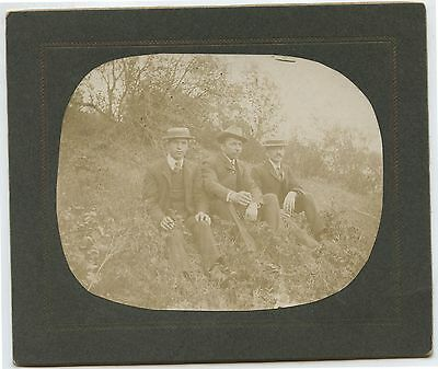 Antique Cabinet Photo 3 Young Men Sitting on Side of Hill