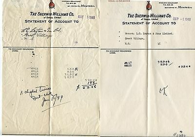 2 Old 1949 Letterheads Sherwin-Williams Paint Co Montreal