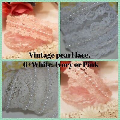 VINTAGE STYLE Lace & Pearl Beaded Ribbon Trim Bridal Wedding Sewing Craft
