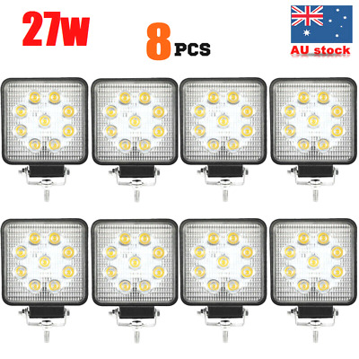 8x 27W CREE LED WORK LIGHT DRIVING LIGHT BAR 12V 24V FLOOD LAMP-*Thickness 55mm*