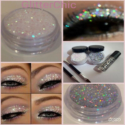 Glitter Eye Shadow Holo Silver+Irridescant Pearl with Fix Gel EXTRA GLAM Duo Set
