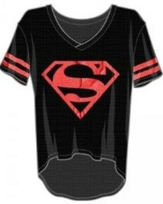 Superman Red Foil Hi/Lo Mesh V-Neck S Brand New