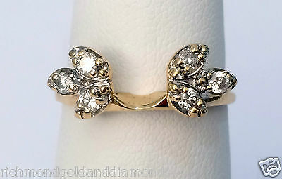 14k Yellow Gold Diamonds Station Solitaire Wrap Ring Guard solitaire enhancer