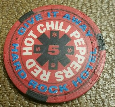 Hard Rock Hotel $5.00 Red Hot Chili Peppers  Casino Chip Las Vegas Nevada
