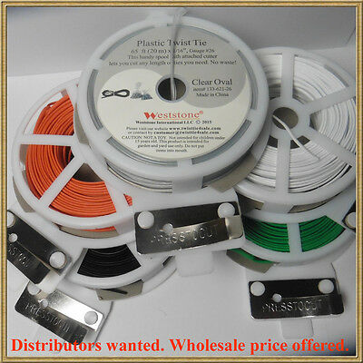 65ft (20m) Plastic Oval Twist Tie roll with cutter for general use